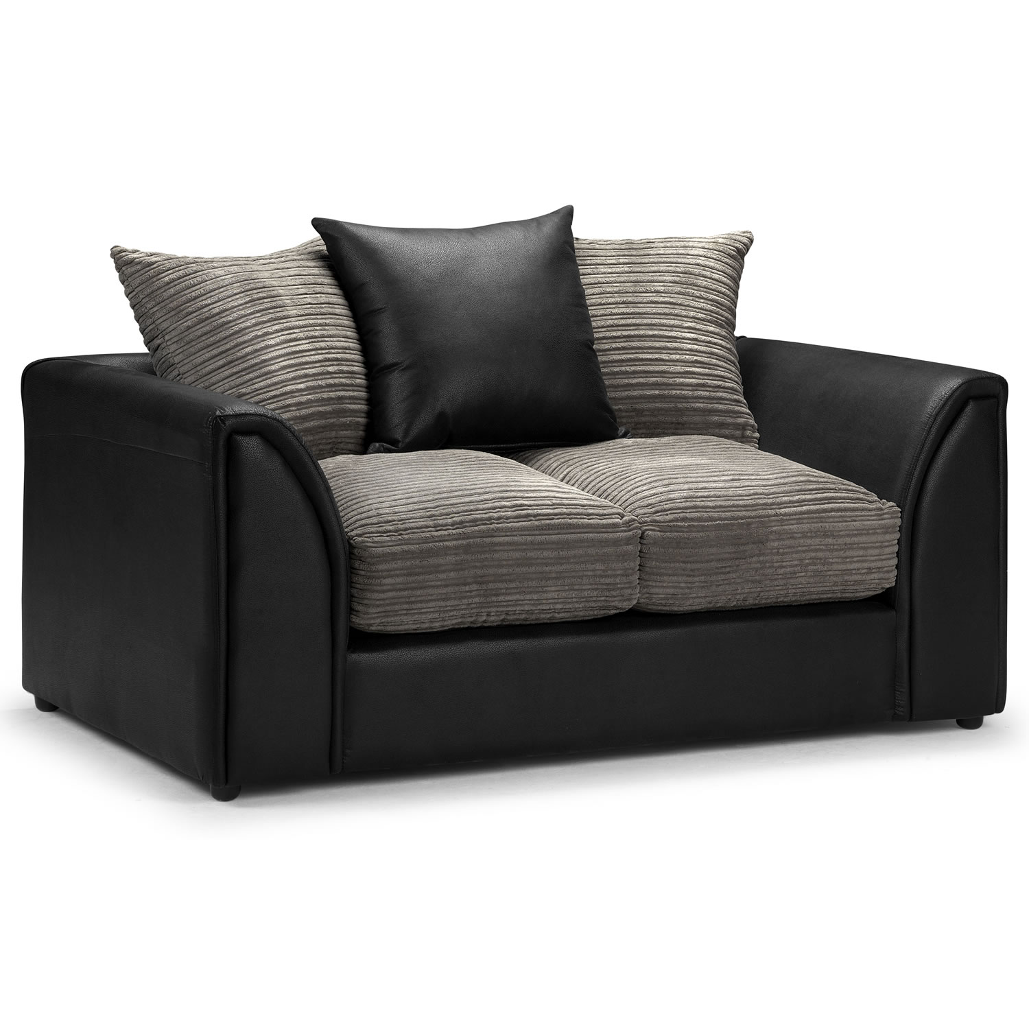 2 Seater Sofa With Soft Foam In Seat And Back Cushion Grey Black