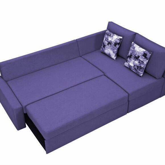 Attirant 3 Seater Sofa Cum Bed With Hard Foam In Seat And Back Cushion U2013 Purple  Colour