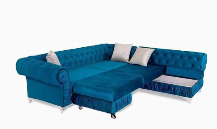 6 Seater L Type Sofa With Hard Foam In Seat And Back Cushion Foldable U2013  Blue Colour