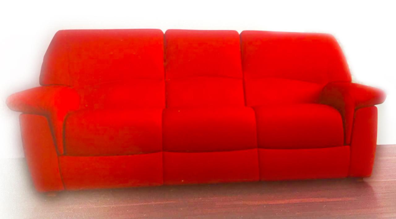 red colour sofa
