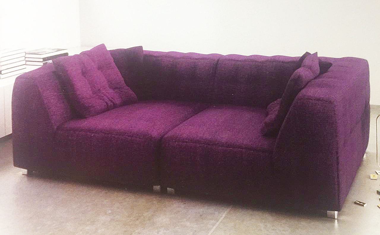 two seat sofa purple