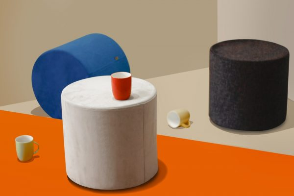 Round Geometric Pouf Seats - Cylinder